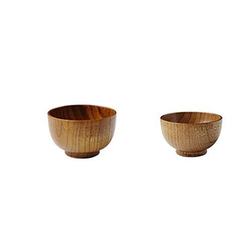 1 ciotola in legno in stile giapponese per alimenti, ciotola grande e piccola, in legno, ciotola per zuppe di riso, insalatiera per bambini da tavola utensili in legno (colore : un set)