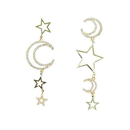 Mode minimalistische fantasie ster maan onregelmatige oorbellen koude wind ontwerp zin hoge oorbellen vrouw