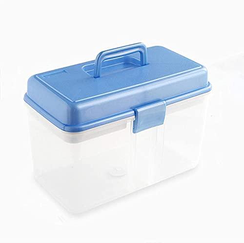 Caja de Medicina portátil Familiar Caja Grande de Primeros Auxilios vacía, Dos Capas de Caja de Almacenamiento de medicinas Cofre médico de plástico para Oficina, Hotel en casa,