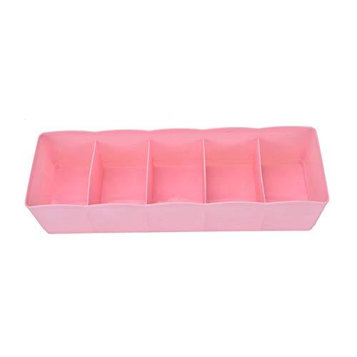 Cajón Caja de almacenamiento de la ropa interior del armario del envase dispensador sujetador sujetador del calcetín corbata 5 Rejilla multifuncional de escritorio cajón caja de plástico Vestidor