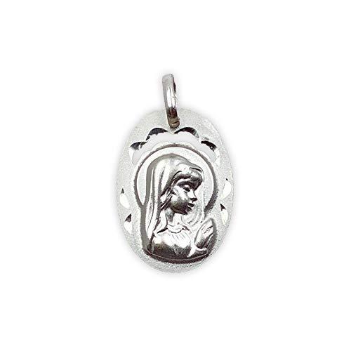 Medalla Religiosa - Medalla Virgen Niña con Velo 13x19 mm. Plata de Ley 925 milésimas.