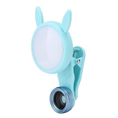 Hozee Luz de Anillo de teléfono, luz de Selfie 3 Modos de luz Mini portátil 6 Niveles Brillo Ajustable para Video para transmisión en Vivo para fotografía(Azul)