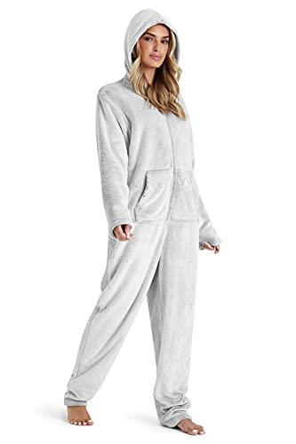 CityComfort Onesie Damen, Jumpsuit Damen Kuschelig, Einteiler Schlafanzug Damen, Pyjama Overall Damen, S-XL (L, Hellgrau)