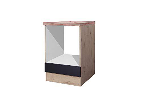 Flex Well Herdumbauschrank 60 cm ohne Arbeitsplatte Anthrazit San Remo Eiche - Lino