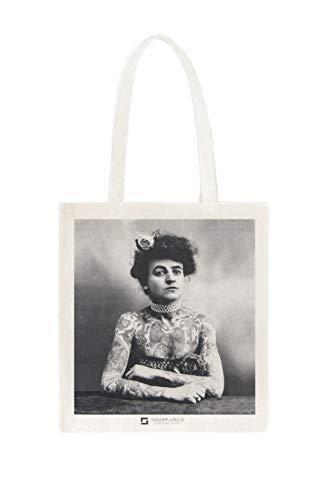 Galeria LueLue - Borsa in cotone biologico, vintage, motivo: Maud Wagner, tatuaggio Girl