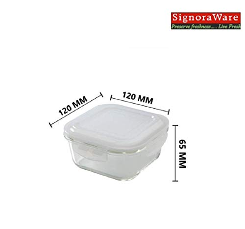 Signoraware Director High Borosilicate Bakeware Safe Glass Lunch Box Set with Bag, 320ml+320ml+320ml, 3-Pieces, Transparent