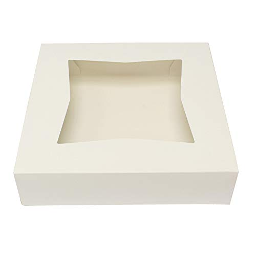 SpecialT Easy Popup Pie Boxes with Window 10x10x2.5 Inch White Bakery Boxes Pie Containers Disposable Baking Boxes 15pk