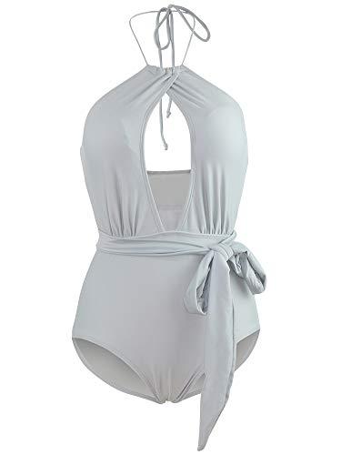 DXBFZGZ Traje de baño Triangular de una Pieza, Pared y Forma Abdominal Sexy, Vacaciones de Primavera al Aire Libre de Moda, Spandex de Nailon, Azul Claro, Talla L