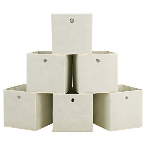 SONGMICS Set di 6 Scatola di Immagazzinaggio Stoccaggio Contenitore Pieghevole TNT Non Tessuto per Biancheria 30 x 30 x 30 cm Beige RFB02M-3