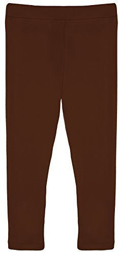 Lilax Girls' Basic Solid Full Length Leggings 8 Brown