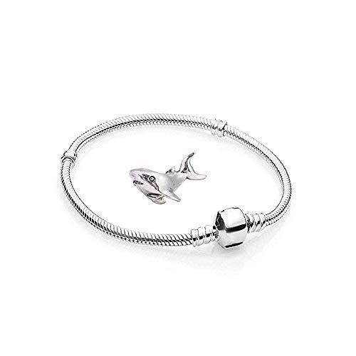 Charms Silber Hai - 1 Armband und 1 Anhänger Starter Set Angebot - Damen Schmuck bettelarmband Pandora Style Kompatibel Charm Beads Bead Alle größe Tiere Liebe 20cm