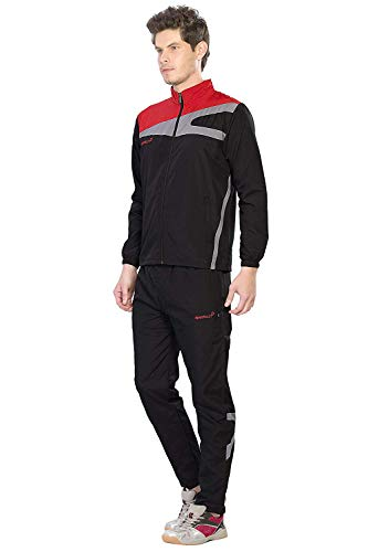 Sport Sun Micro Polyester Stylish Track Suit for Men (Black-Red, Large)