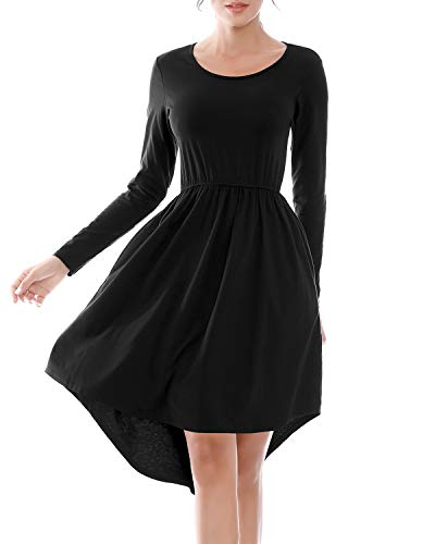 Black Dresses for Women Long Sleeve,High Low Pleated T Shirt Dress Crewneck Solid Color Loose Swing Midi Dress with Pockets(Black,M)