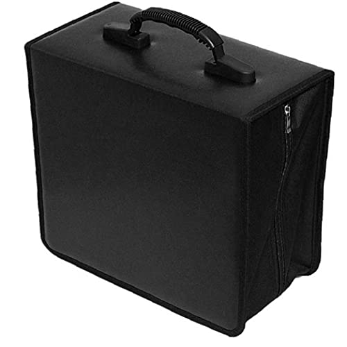 CD CD Titular Caja de la Carpeta Carpeta DVD DVD Organizador Bolsa de Almacenamiento del álbum PU 400 Capacidad portátil con la manija Negro