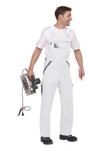 PKA Elastik-Latzhose THREELINE-PERFEKT - 320g/m² - mehrere Farben 50,Weiß/Grau