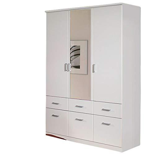 Kleiderschrank weiß 3 Türen B 136 cm Kinderzimmer Jugendzimmer Schlafzimmer Drehtürenschrank Wäscheschrank Spiegelschrank