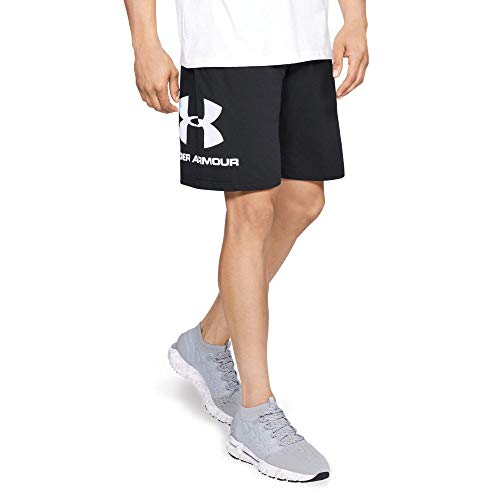 Under Armour Under Armour Sportstyle Cotton Logo Shorts, Running Shorts Made of Breathable Material, Workout Shorts with Ultralight Design Men, Black (Black/White (001)), XX-Large