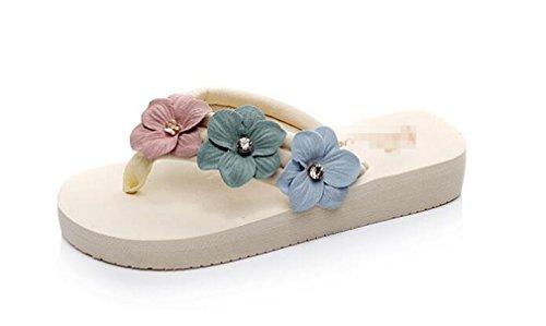 Boowhol Damen Zehentrenner Blumen Sommerschuh Badeschuhe Flip-Flops mit Absatz (40 EU, Weiss)