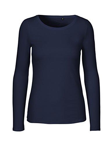 Green Cat- Damen Langarmshirt, 100% Bio-Baumwolle. Fairtrade, Oeko-Tex und Ecolabel Zertifiziert, Textilfarbe: Navy, Gr. L