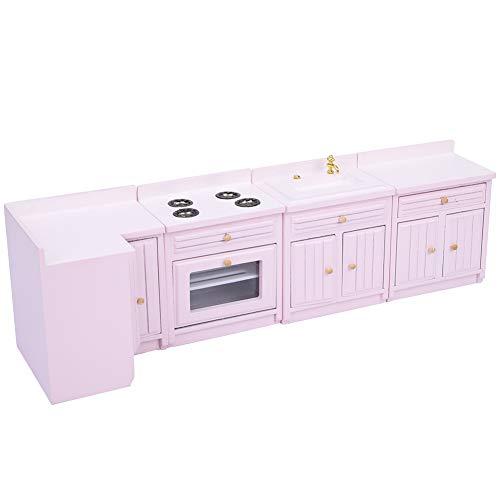 Fockety Kits de casa de muñecas Exquisito gabinete de Cocina en Miniatura Casa de muñecas Muebles de Cocina Muebles de casa de muñecas Accesorio de casa de muñecas de Juguete para casa de muñecas