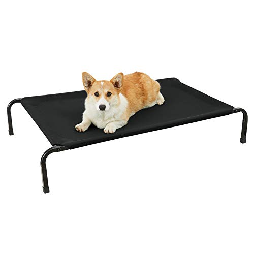Veehoo Cooling Elevated Dog Bed with Curved Poles, Raised Pet Cot for Large Dogs, Durable & Breathable Textilene Mesh Mat, Nonskid Feet, Indoor or Outdoor Use, L, Black