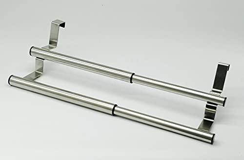 Liseng Toallero de cocina doble para armario de cocina, soporte extensible para toallas de mano para ajuste universal en interior o exterior
