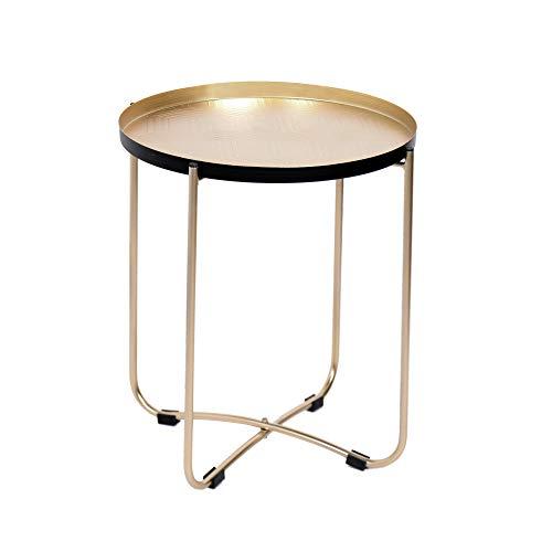 Nero//Olmo Scuro Legno Rifinito Metallo Laccato 50,5x47,5x55,5 cm Tuoni Redford Tavolino