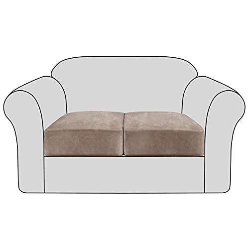 THJ Funda de cojín de terciopelo elástico antideslizante para sofá, fundas de asiento de sofá extraíbles con parte inferior elástica lavable, fundas protectoras (marrón, 2 unidades)