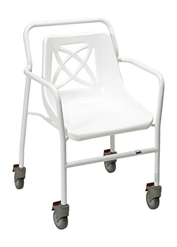 Homecraft Harrogate Shower Chair, Wheeled, Fixed Height with Wheels (Eligible for VAT relief in the UK), Drainage Holes, Backrest and Arms, Bathroom Seat, Bathing Aid for Elderly, Handicapped, Injured