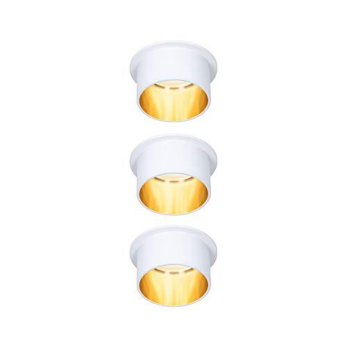 Paulmann Gil 93381 - Foco led empotrable (3 focos, redondo, incluye 3 bombillas de 6 W, intensidad regulable), color blanco mate y dorado