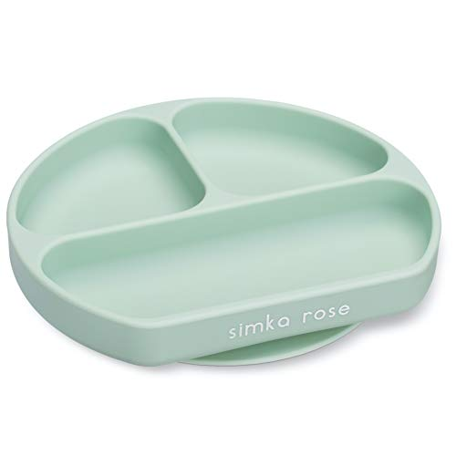 Simka Rose Suction Plate for Baby and Toddler - Divided Silicone Plate - BPA Free - Dishwasher and Microwave Safe (Sage)