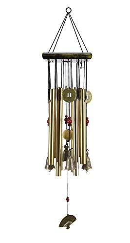 SKYC Windspiel mit 8 Metallröhren, 63,5 cm, Vintage-Memorial-Windspiel für Terrasse und Terrasse, schöne Outdoor-Dekoration, Bronze (Beste Metall-Musik-Windspiel-Dekoration)