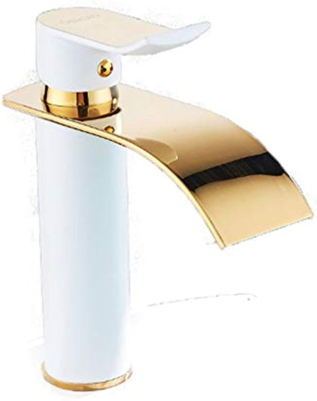 ROTOOY Wasserhhne Kupfer Heien Und Kalten Becken Wasserhahn VerGoldete Farbe Badezimmer Waschbecken Erhhung Wasserfall Wasserhahn A