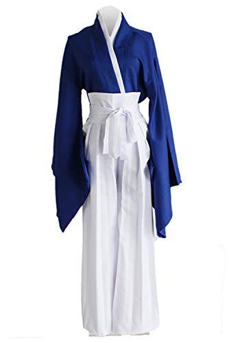 Bilicos Anime Kenshin Himura Kenshin Blue Kendo Kimono Traje de Cosplay Disfraz Hombres Caballeros M
