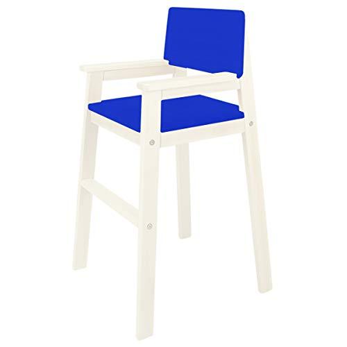 Madyes kinderstoel hoge stoel massief hout wit gelazuurd. Modern design. Trapstoel beuken voor eettafel, kinderhoge stoel voor kinderen, stabiel en onderhoudsvriendelijk, vele kleuren mogelijk blauw