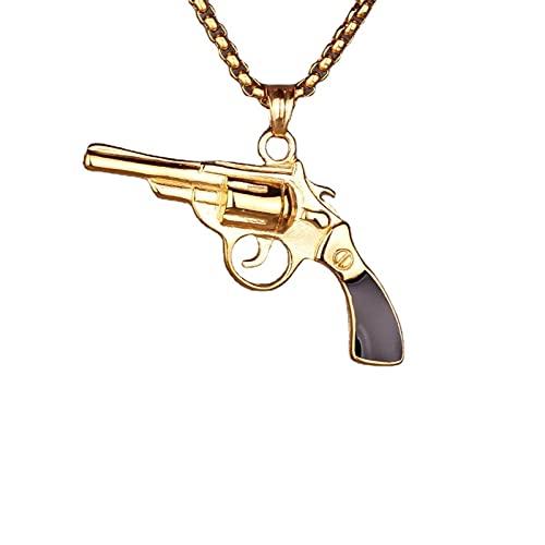 Joyería De Moda Dominante Moda Europea Y Americana Hip Hop Colgante De Pistola De Epoxi De Acero Inoxidable Joyería De Collar De Pistola De Acero Inoxidable Para Hombres De Moda