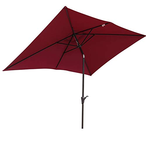 SUNSITT Rectangular Patio Umbrella Outdoor Market Table Umbrella with Push Button Tilt and Crank, 6.6 by 9.8 Ft, Burgundy