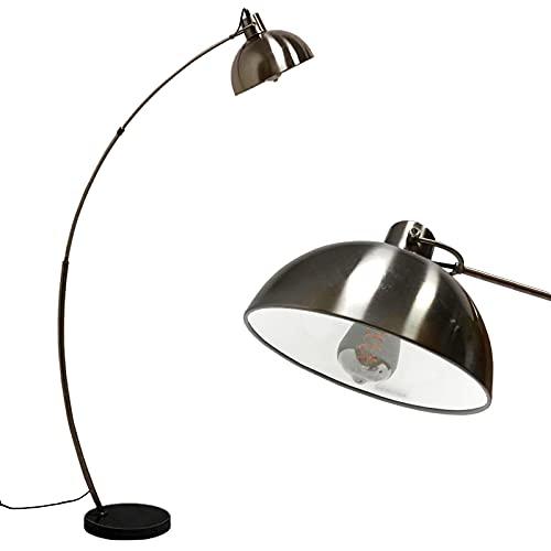 lámpara arco pie,moderna lámpara de pie de metal en níquel con base de mármol,casquillo E27,máx. 60 W,lámpara de arco con cabezal ajustable,interruptor de pie en el cable,para sala de estar, lectura