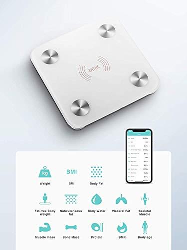DEIK Báscula de Baño Inteligente Digital Alta Medición Precisa, Bascula Grasa Corporal, Balanza Digital Baño con Bluetooth por iOS y Android App, Análisis 13 Funciones, 180 kg / 400 lb