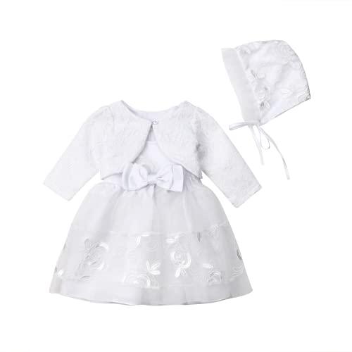 3-teiliges Taufkleid-Set für Babys, Mädchen, formelles Kleid, für Hochzeiten, Spitze, ärmellos, Jäckchen, Mütze, mit Schleife, für Zeremonien, weiß, 80 cm(3-6 Monate)