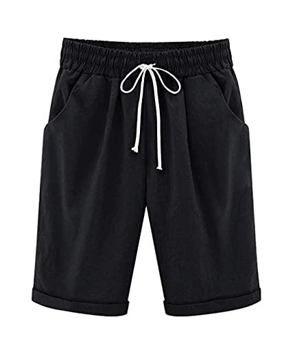 Vcansion Women's Casual Elastic Waist Knee Length Bermuda Shorts with Drawstring Black Asian 2XL/US 8-10