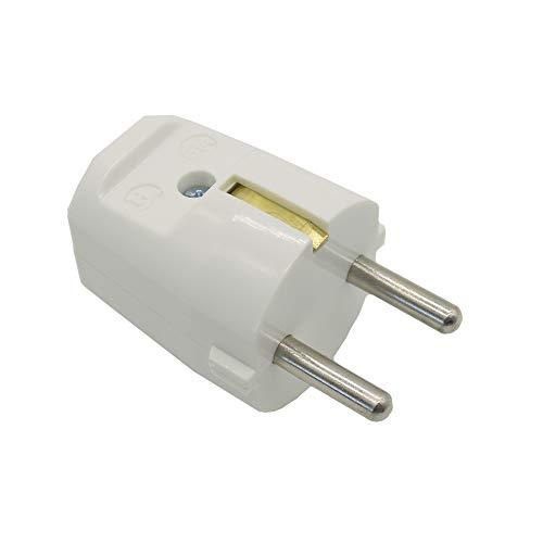 Enchufe con protección de contacto, color blanco, tipo F, 250 V, con protección de contacto, n.º 614, resina de urea