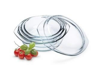 Simax Round Glass Casserole Baking Dishes | With Lids - Borosilicate Glass - Made In Europe - Set of 3 Clear Glass Baking Dishes - 1 Qt, 1.5 Qt, and 2 Qt