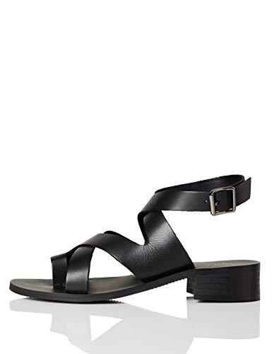 FIND Crossover Block Heel Leather Sandalias de Punta Descubierta, Negro (Black), 39 EU