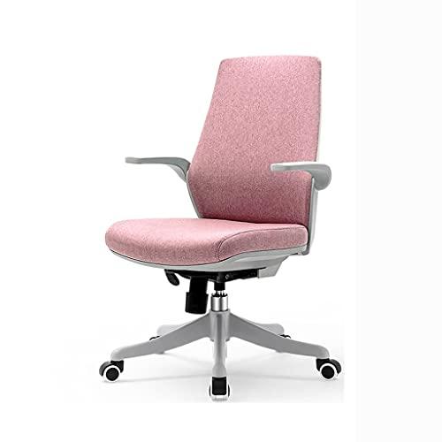 zdz Silla de Oficina de Malla de Espalda con Soporte de polea, Silla de Escritorio Ajustable ergonómica con reposabrazos, para Oficina, Dormitorio, hogar (Color : Pink)