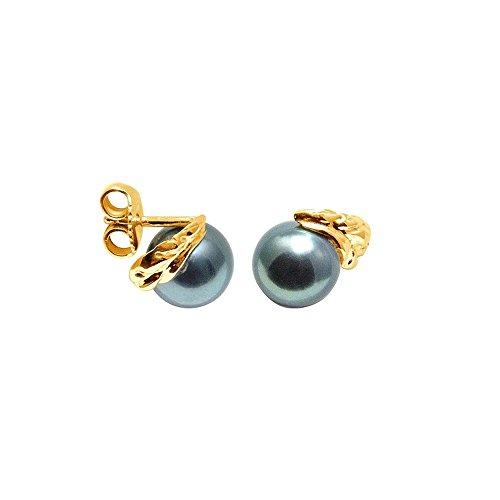 Pendientes Perlas de Tahiti y oro amarillo 750/1000 - BPS K353 W - Blue Pearls