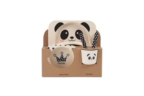 Lilo Juego de vajilla infantil de bambú para niños, con diseño de panda, 5 piezas, plato, cuenco, taza, tenedor y cuchara