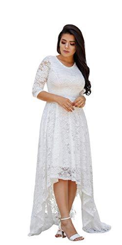 Vestido Longo Noiva Casamento Civil, Pre Wedding, Mullet, Renda (M)