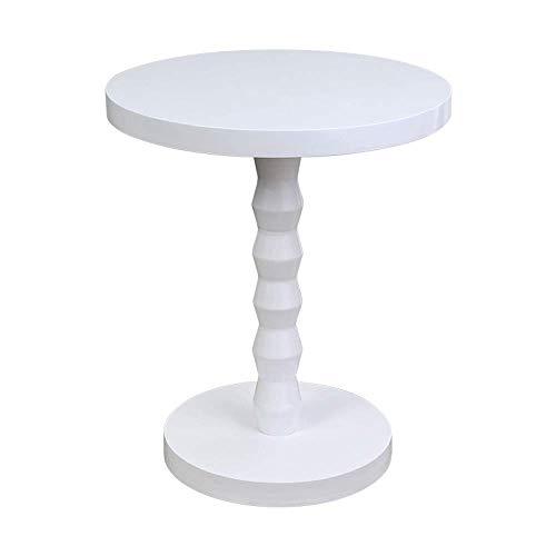 Axdwfd Table basse ronde en bois massif Mini canapé Table d'appoint Table d'angle Présentoir de table de téléphone D39.5 * H46.5CM (gris/blanc) (Couleur : Blanc)