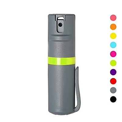 POM Pepper Spray Grey Flip Top Pocket Clip - Maximum Strength OC Spray - Self Defense - Tactical Compact & Safe Design - 25 Bursts & 10 ft Range - Powerful & Accurate Stream Pattern
